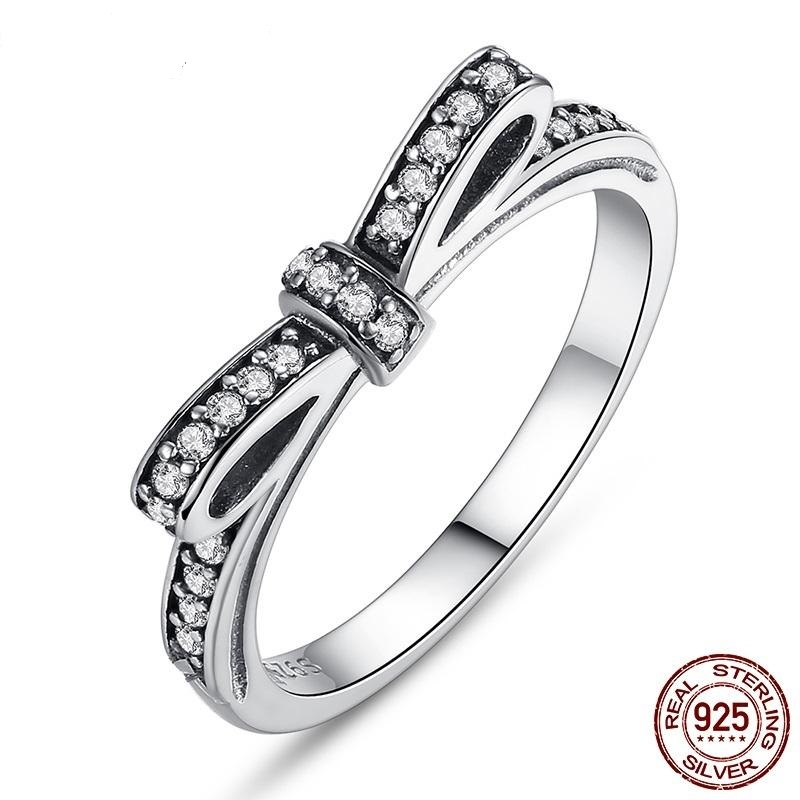 Strieborný prsteň štýl  Pandora v tvare mašle