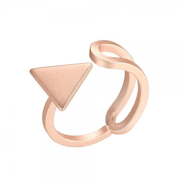 Ružovo - zlatý prsteň otvorený s trojuholníkom