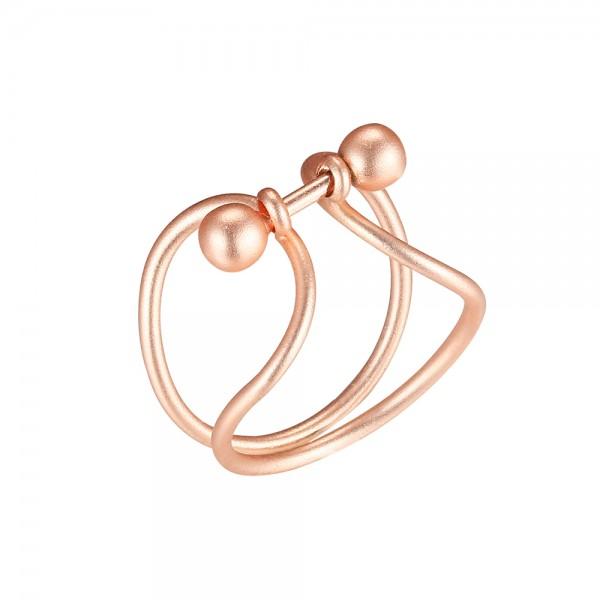 Ružovo - zlatý prsteň s paličkou zakončenou guľkami - matný