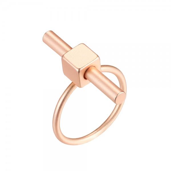 Ružovo - zlatý prsteň s paličkou - matný