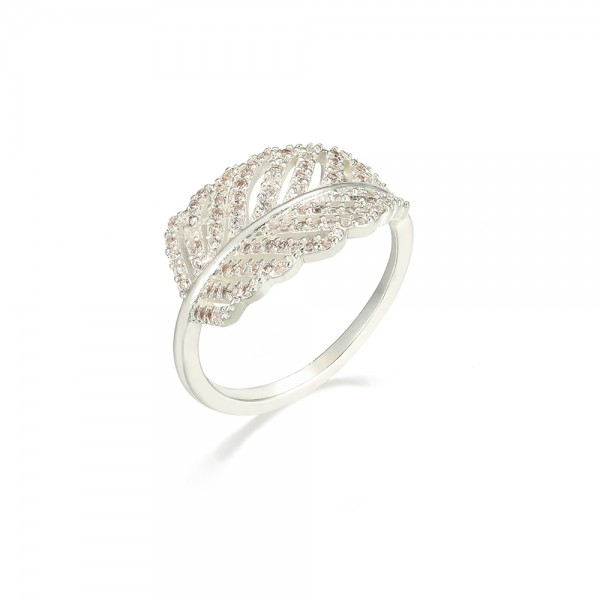 Strieborný prsteň v tvare pierka zdobený zirkónmi
