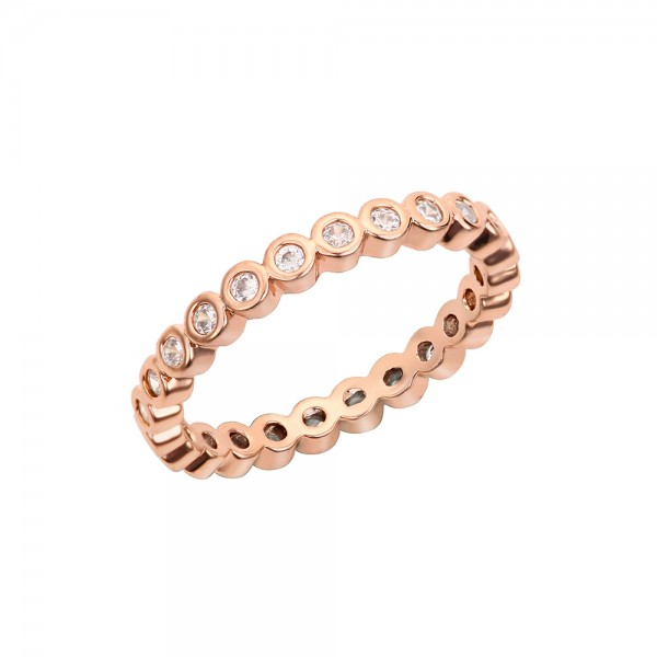 Zlato - ružový korálkový prsteň a priesvitnými kamienkami