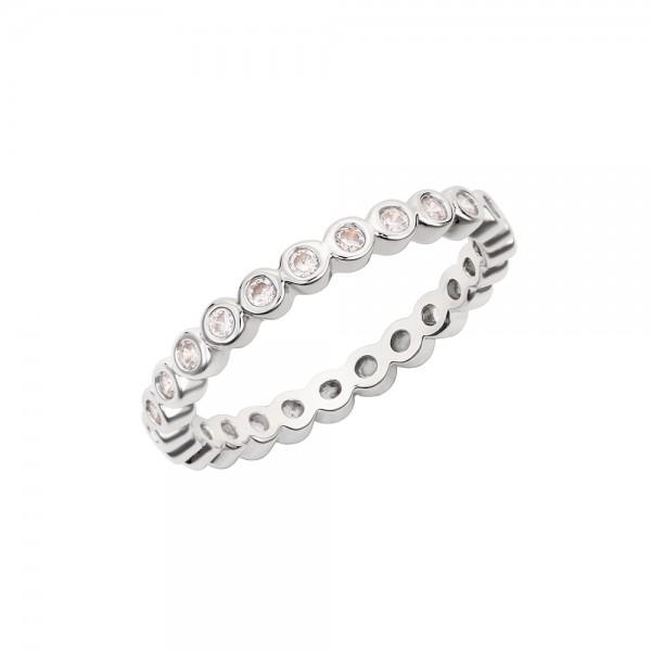 Strieborný korálkový prsteň s očkami