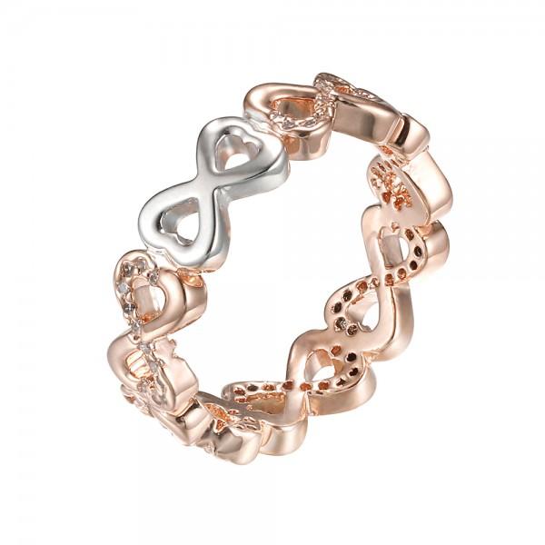 Ružovo - zlatý prsteň s motívom nekonečnej lásky