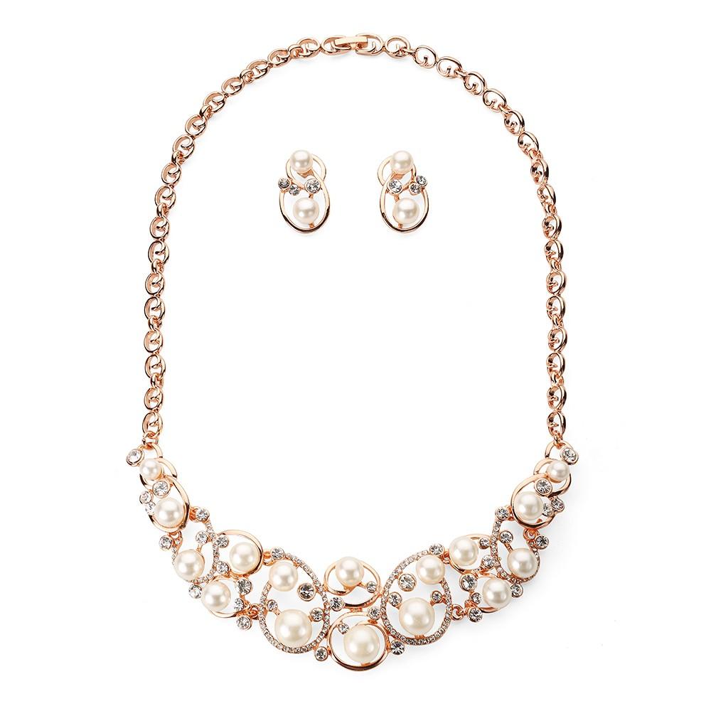 Ružovo - zlatý perlový set s kamienkami