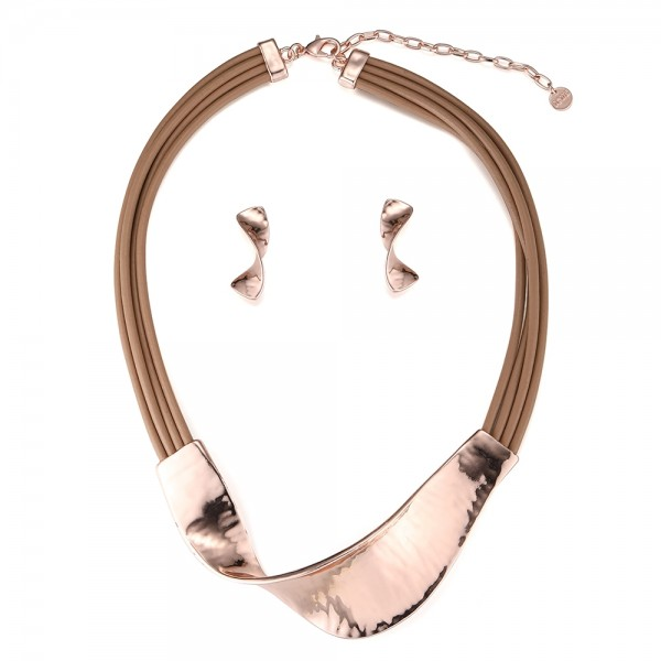 Multi-Corded Twist Necklace Set - Rose Gold (YK18035RG)