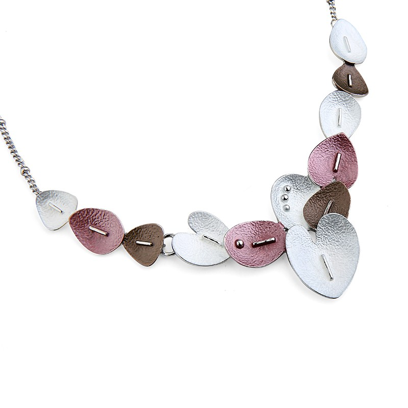 Heart Shaped Leaves Necklace Set - Silver/White (YA17104A)