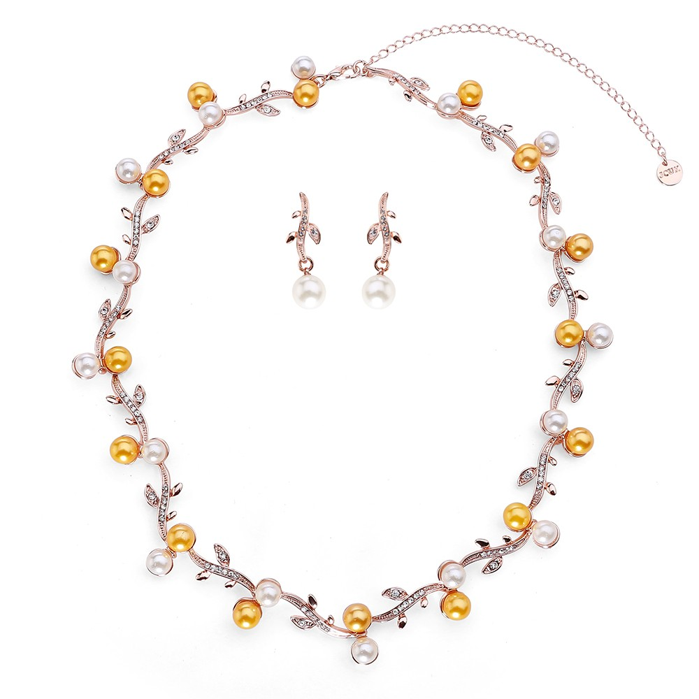 Bielo - žltý perlový set zdobený jemnými kamienkami - ružové zlato