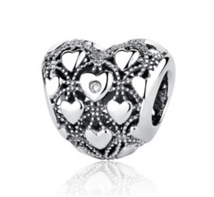 Strieborná 925 korálka štýl Pandora srdce s malými srdiečkami