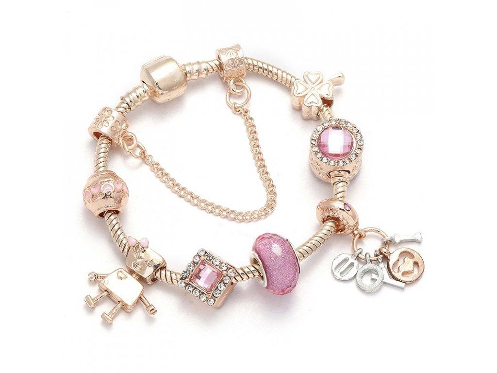 Ružovo zlatý náramok štýl Pandora s ružovými korálkami 16 cm, 17 cm, 18 cm, 19 cm (Dĺžka 19 cm)