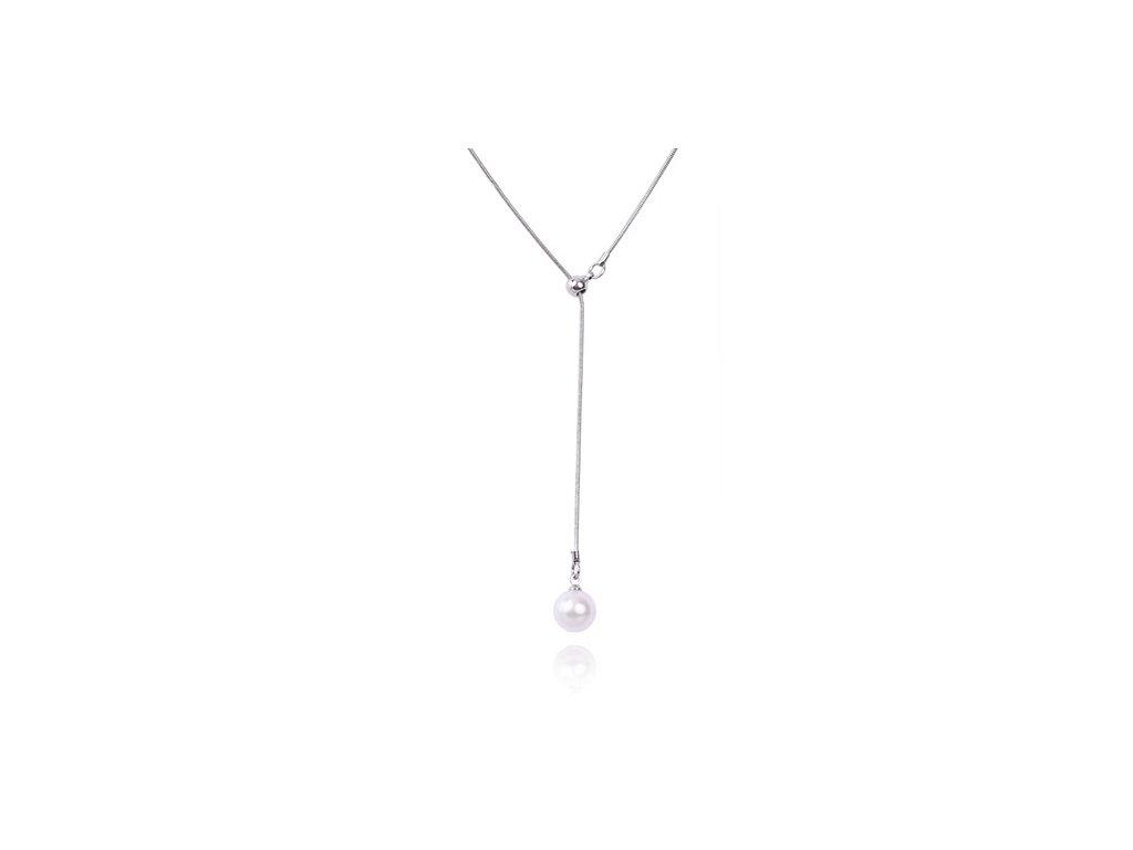 1246 strieborny nahrdelnik s perlou