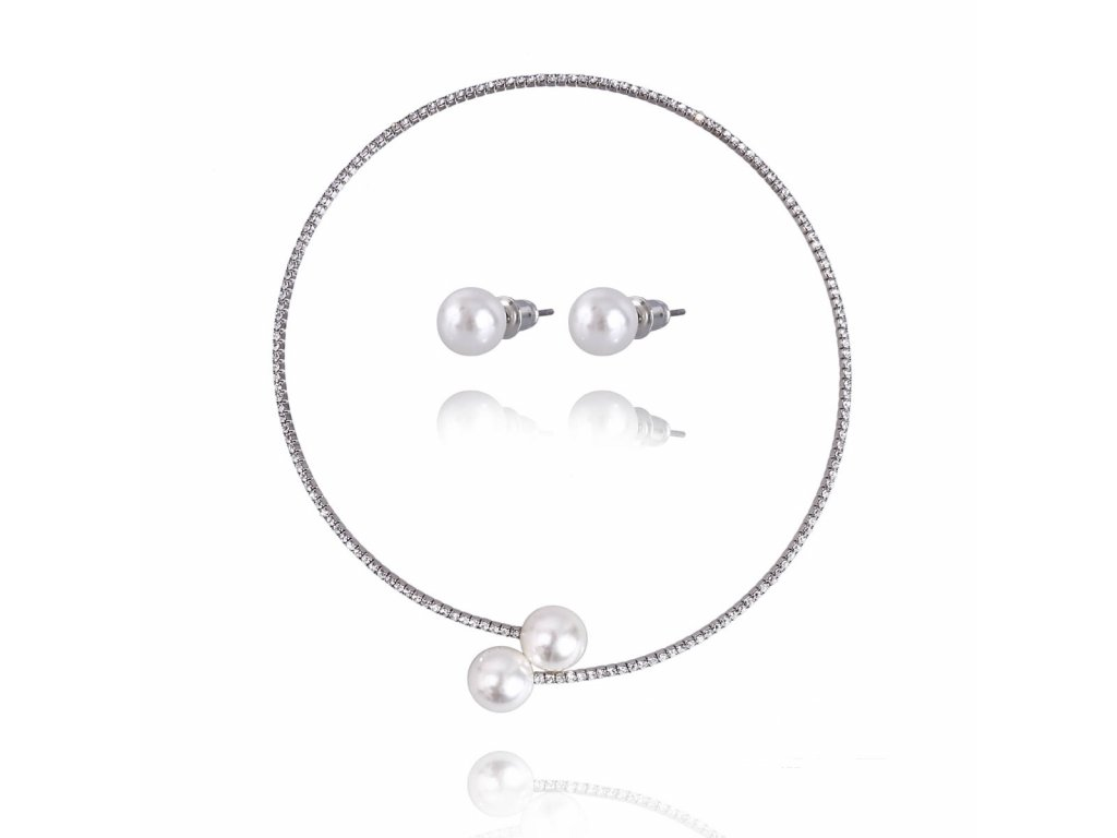 1396 strieborny set so zirkonom a perlou