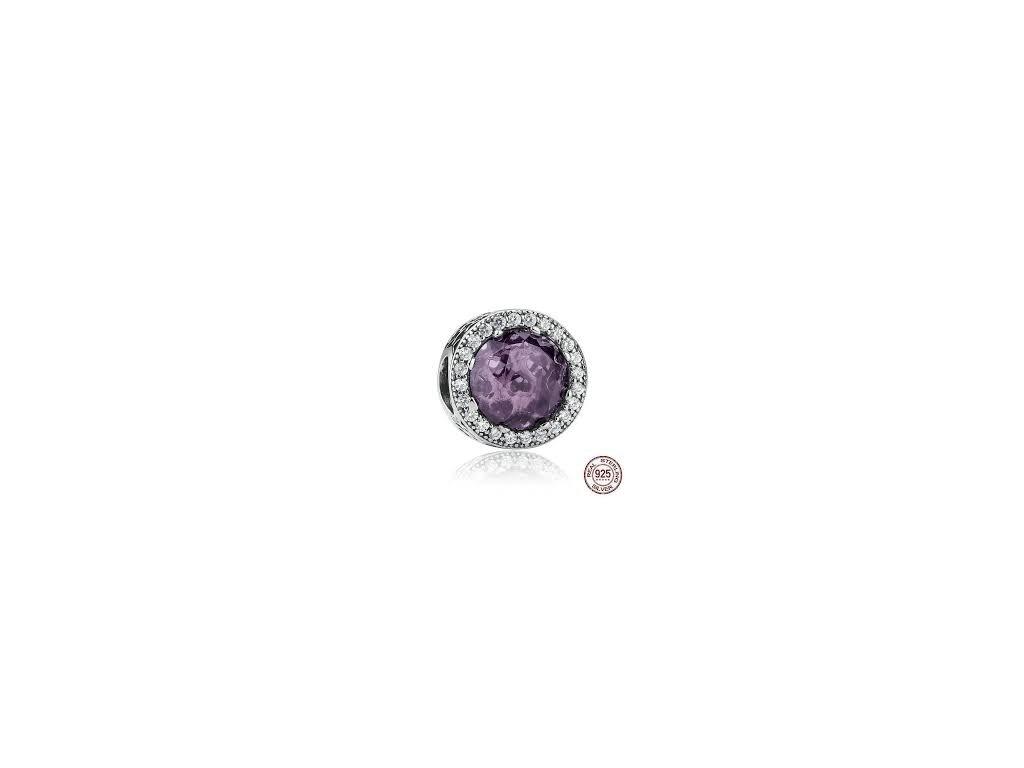1477 1 strieborna 925 koralka styl pandora violeta