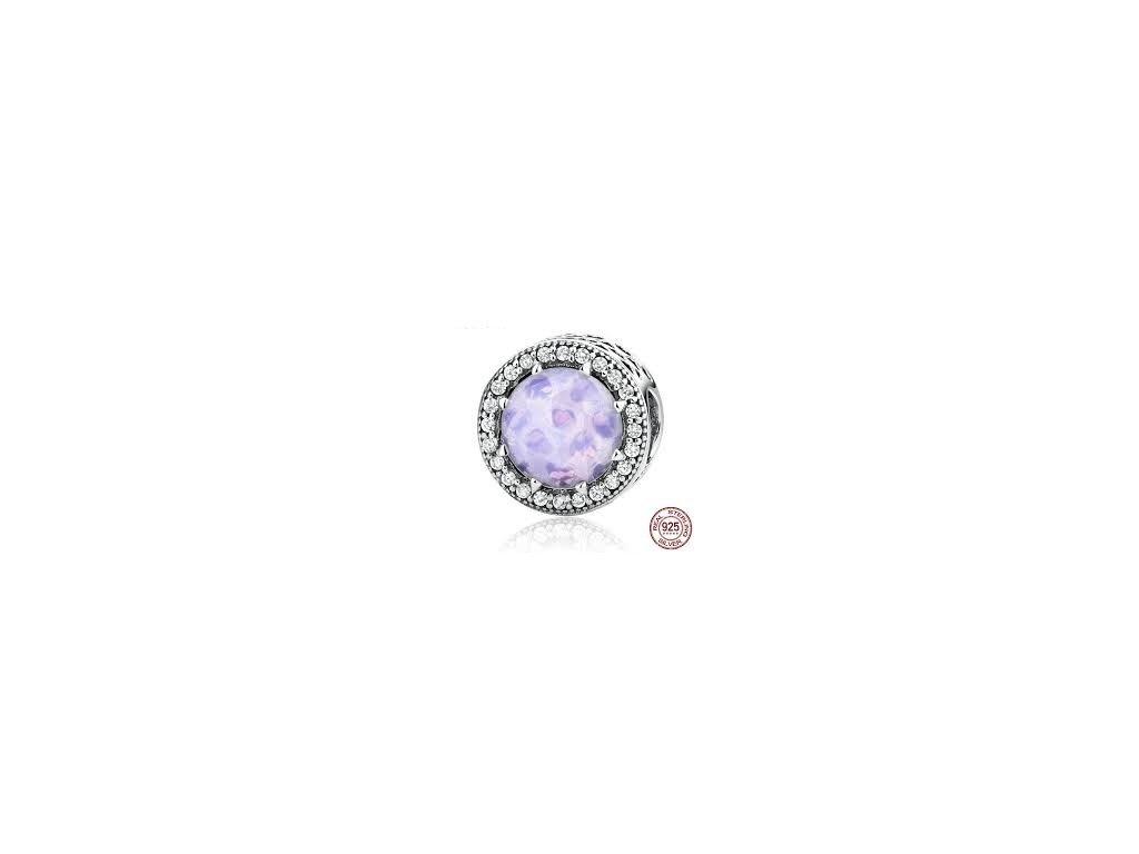 1486 1 strieborna 925 koralka styl pandora lilac