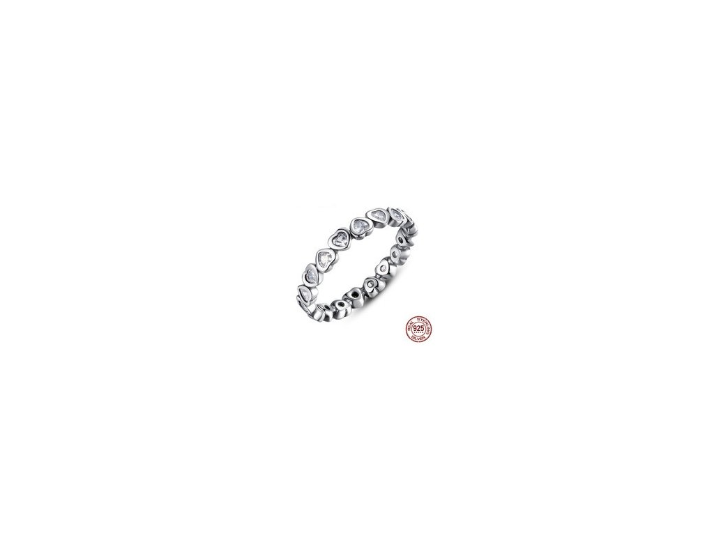 1510 2 strieborny 925 prsten styl pandora srdiecka