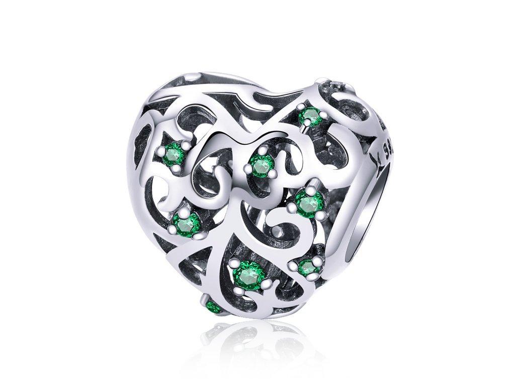 1549 1 strieborna 925 koralka styl pandora smaragdove srdce