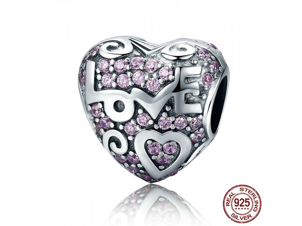 1561 strieborna 925 koralka styl pandora ruzove srdce love