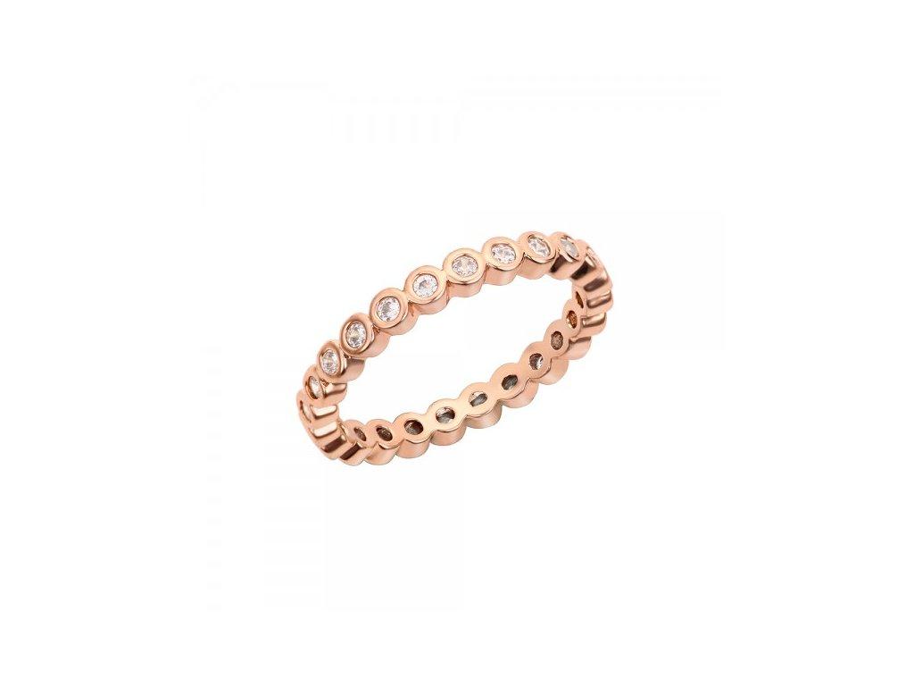 1573 zlato ruzovy koralkovy prsten s ockami