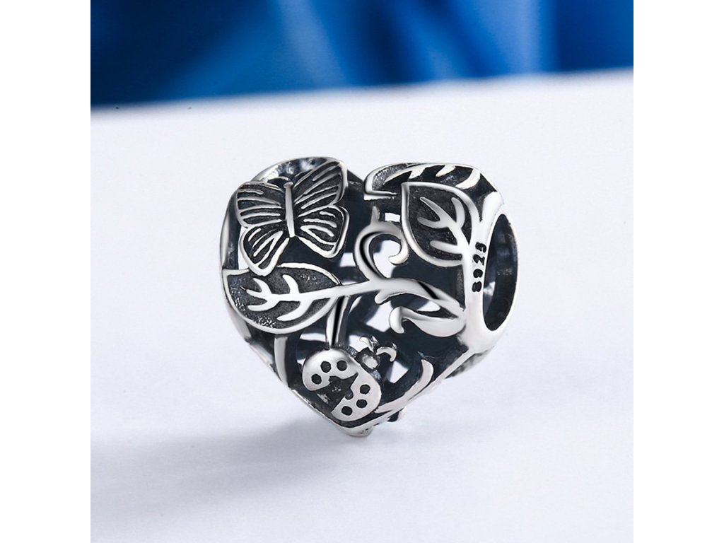 1639 1 strieborna 925 koralka styl pandora garden heart