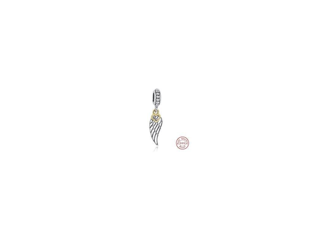 1648 2 strieborna 925 koralka styl pandora privesok wings