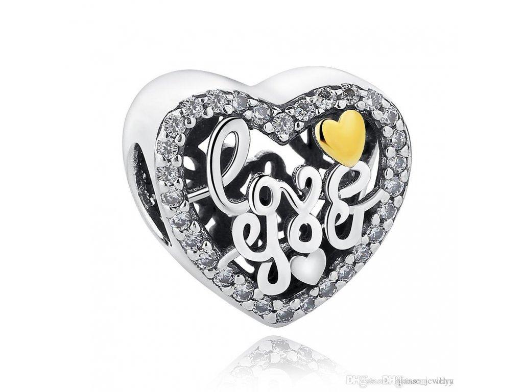 1654 2 strieborna 925 koralka styl pandora love you