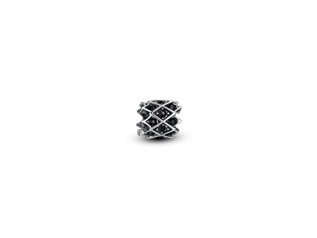 1684 koralka styl pandora zdobena ciernymi kamienkami