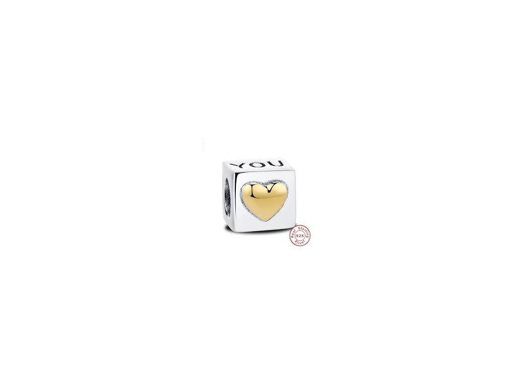1729 strieborna 925 koralka styl pandora kocka so srdcom