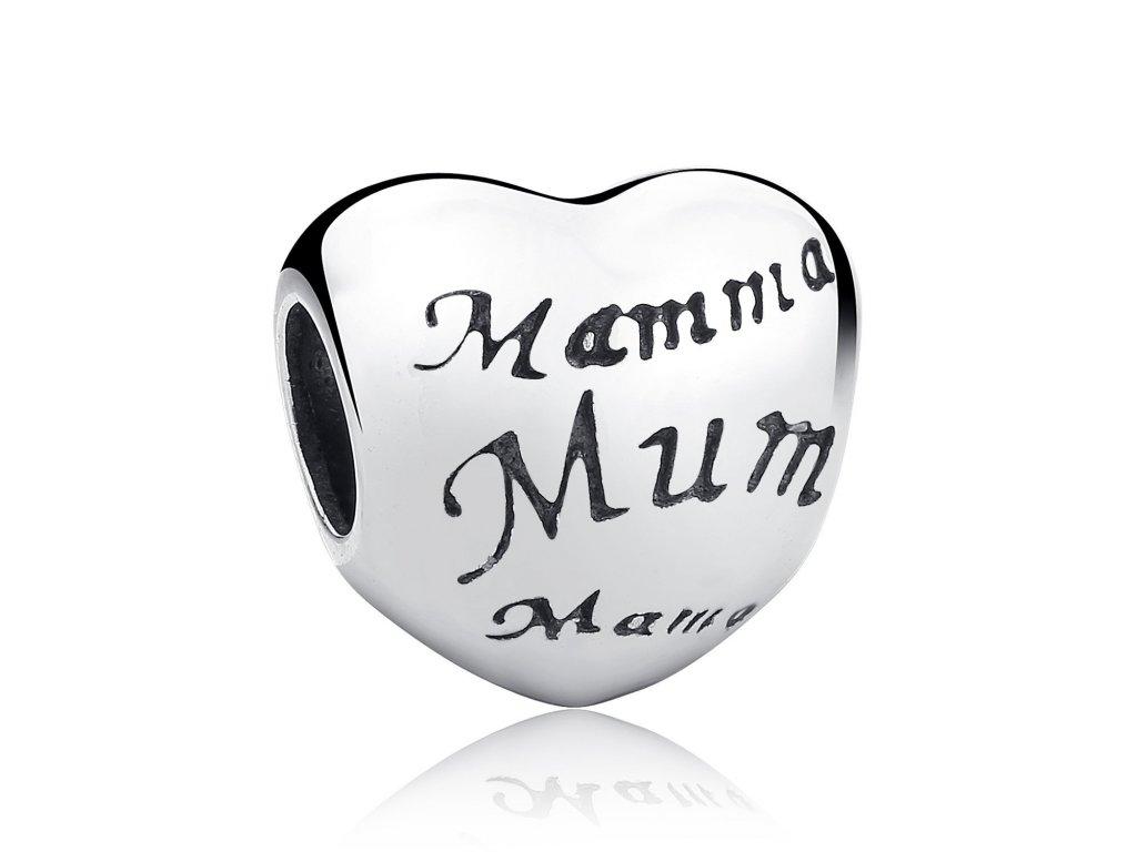 1738 2 strieborna 925 koralka styl pandora srdce mamma