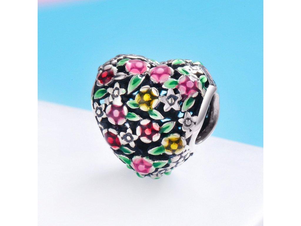 1867 strieborna 925 koralka styl pandora flowery heart