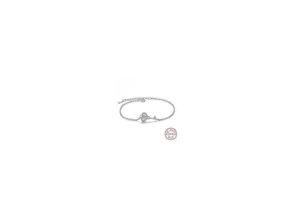 2041 925 strieborny naramok s klucom zdobenym drobnymi zirkonmi