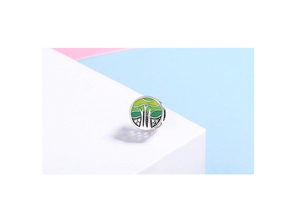 2062 farebna koralka styl pandora okruhla s motivom mora zelena