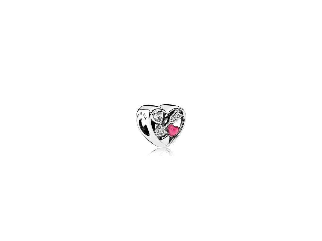 2116 strieborna 925 koralka styl pandora srdce so sipom