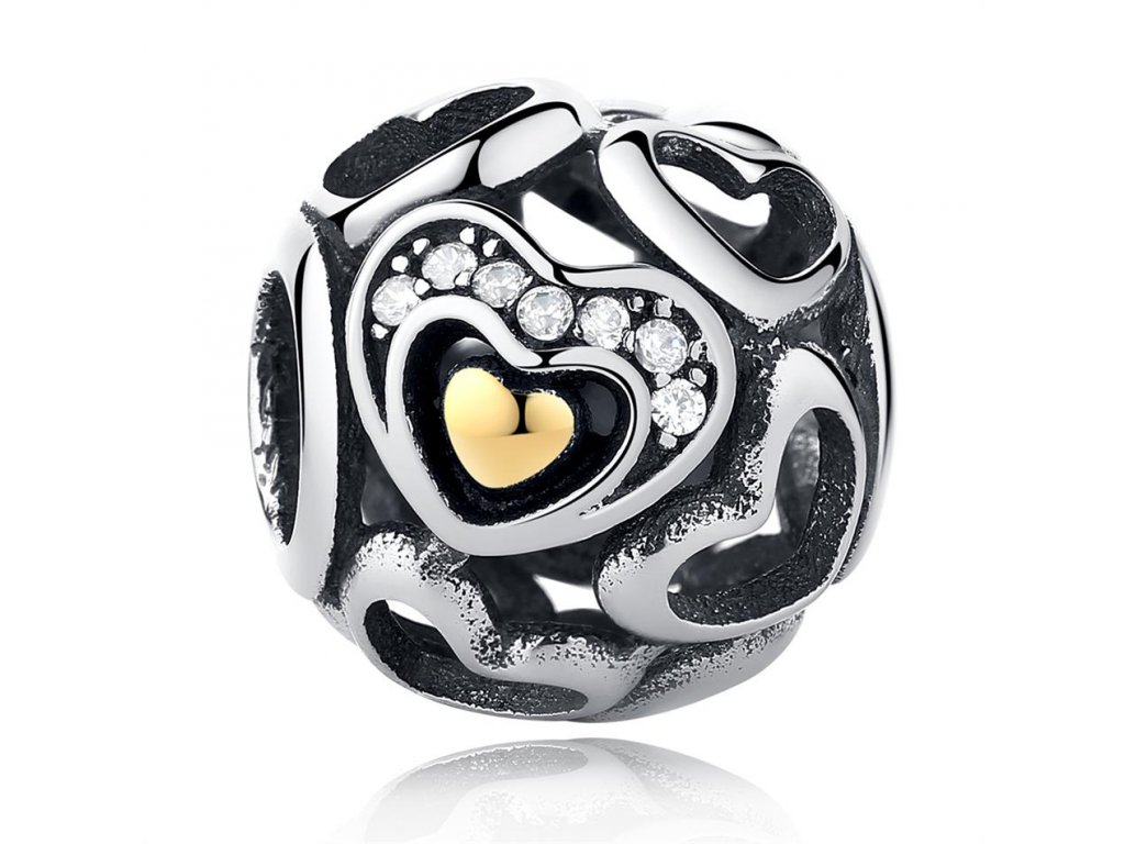 2131 strieborna 925 koralka styl pandora srdce zo zlata