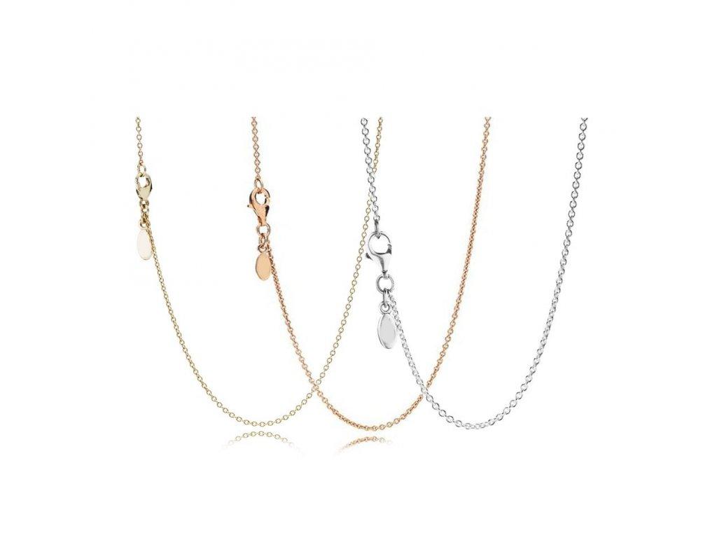 DIY retiazka / náhrdelník jednoduchý v dvoch farbách len za 11 € pri kúpe striebornej korálky (Farba strieborná)
