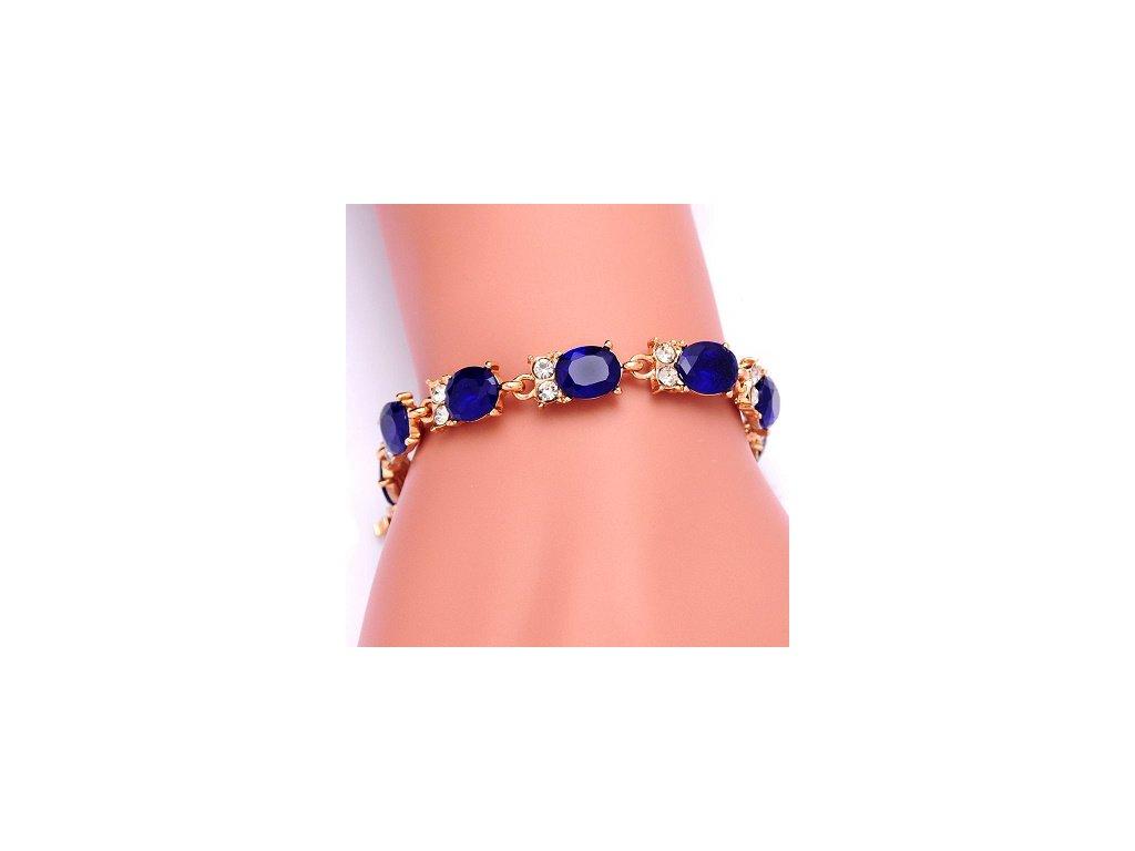 226 zlaty elegantny naaramok so zirkonovymi kamienkami v modrej bordovej a zelenej farbe