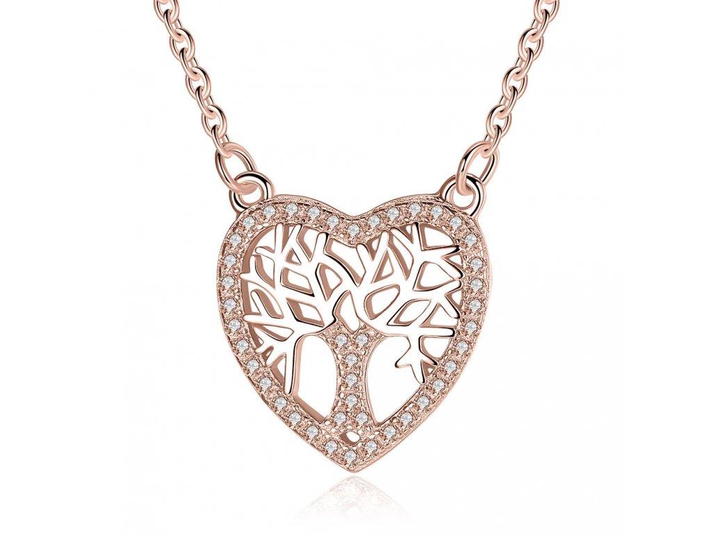 2392 strieborny 925 nahrdelnik srdce so stromom zivota ruzovo zlaty