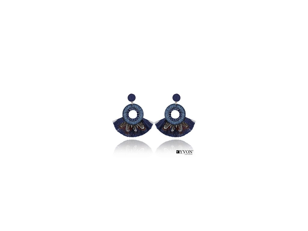 2482 modre nausnice boho styl s pierkami