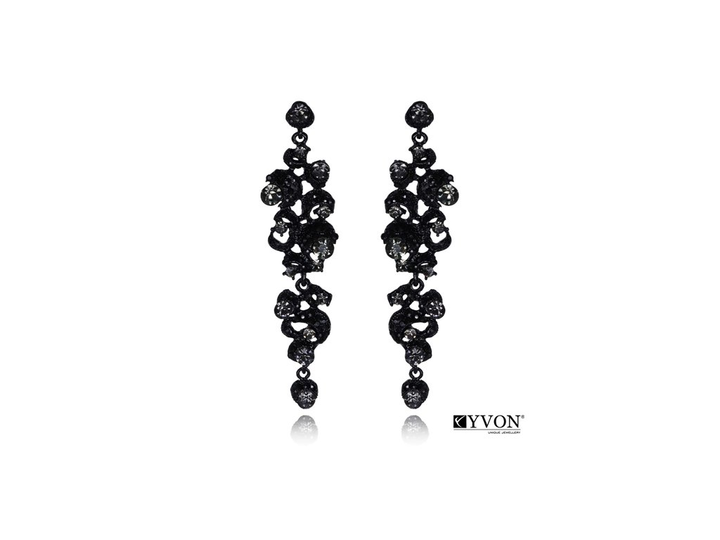 2581 visiace krystalove nausnice styl glamour sivozelene
