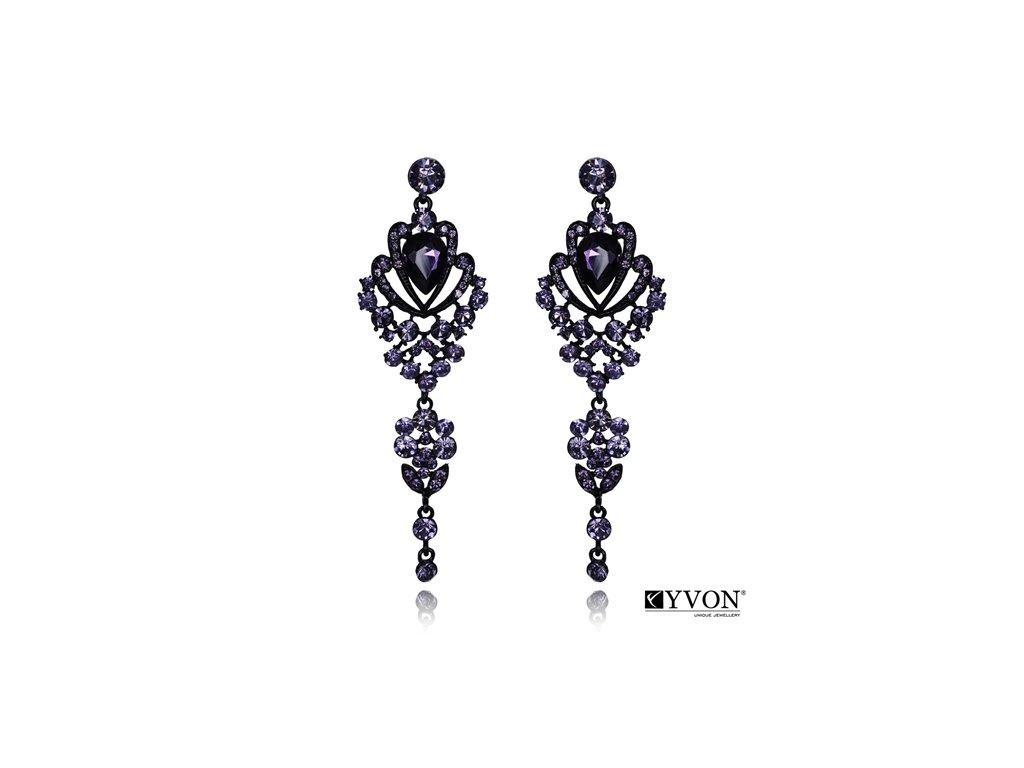 2584 visiace krystalove nausnice styl glamour tmavofialova
