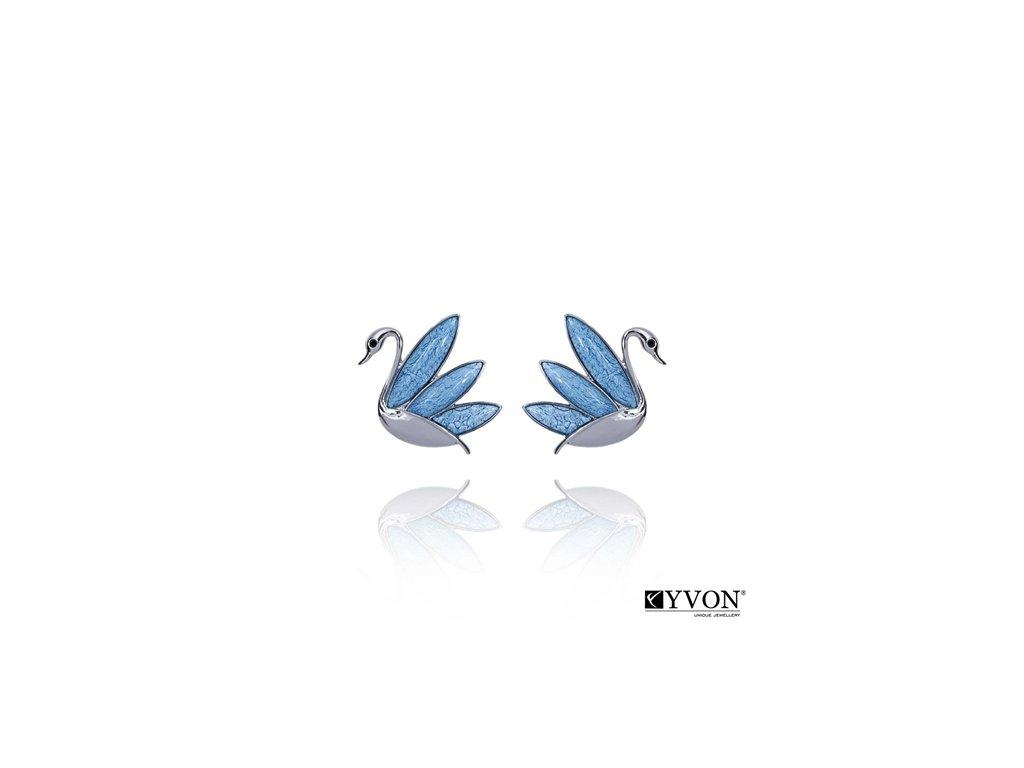 2617 modre krystalove nausnice labute
