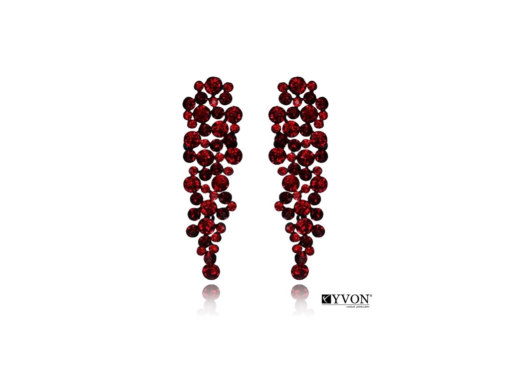 2641 cervene krystalove visiace nausnice dlhe