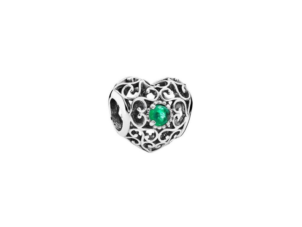2662 strieborna 925 koralka styl pandora srdce so zelenym ockom