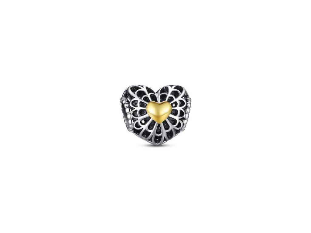 2671 strieborna 925 koralka styl pandora srdce so zlatym srdieckom
