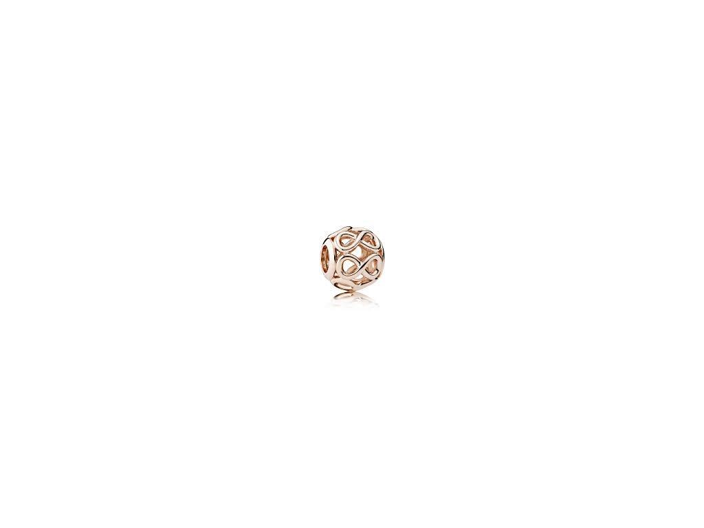 2680 strieborna 925 koralka styl pandora ruzovo zlata nekonecnost
