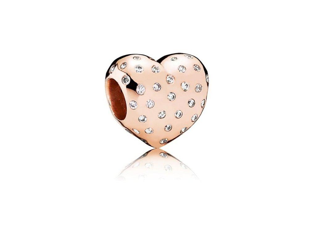 2683 strieborna 925 koralka styl pandora ruzovo zlata srdce s priesvitnymi zirkonmi