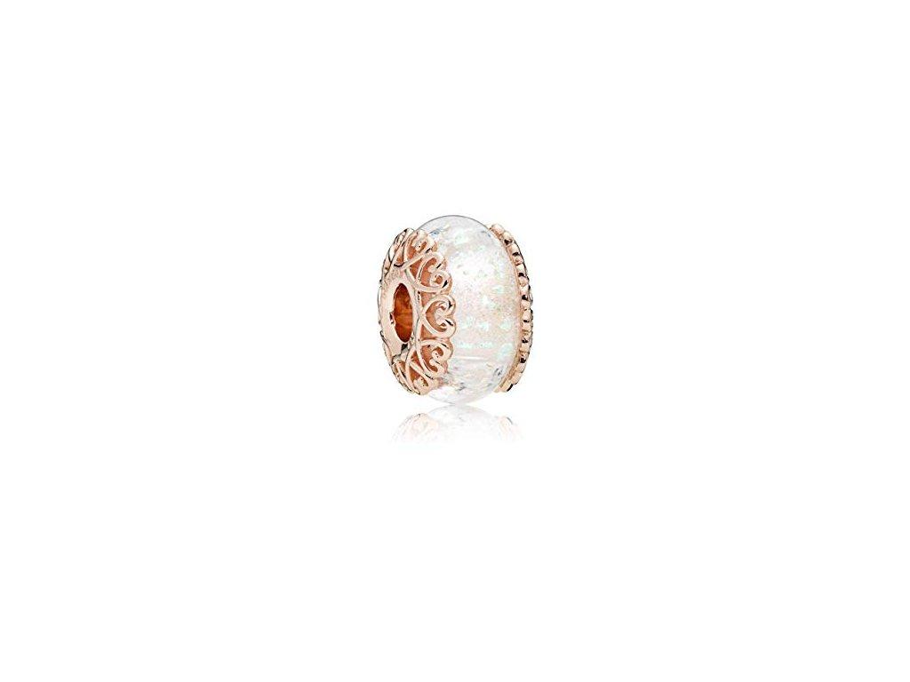2692 strieborna 925 koralka styl pandora ruzovo zlata biele murano sklo