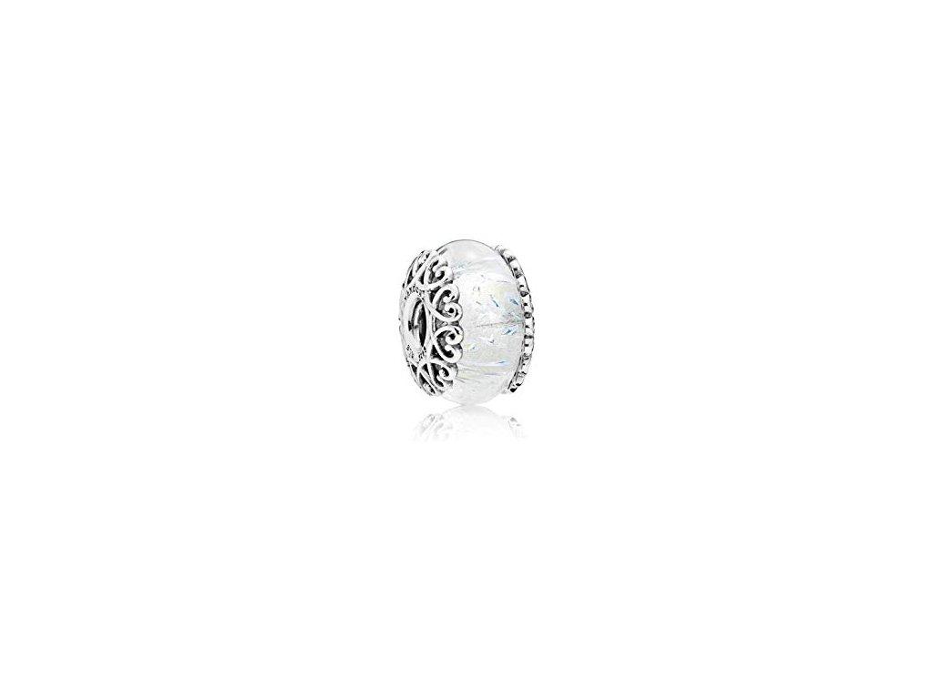2695 strieborna 925 koralka styl pandora biele murano sklo