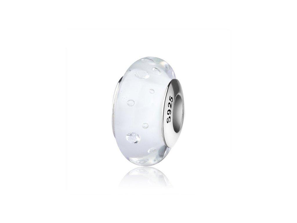 2725 strieborna 925 koralka styl pandora biele murano sklo s bublinkami