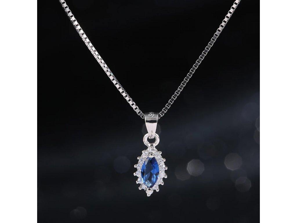 2755 strieborny 925 nahrdelnik s modrym krystalovym priveskom v tvare oka