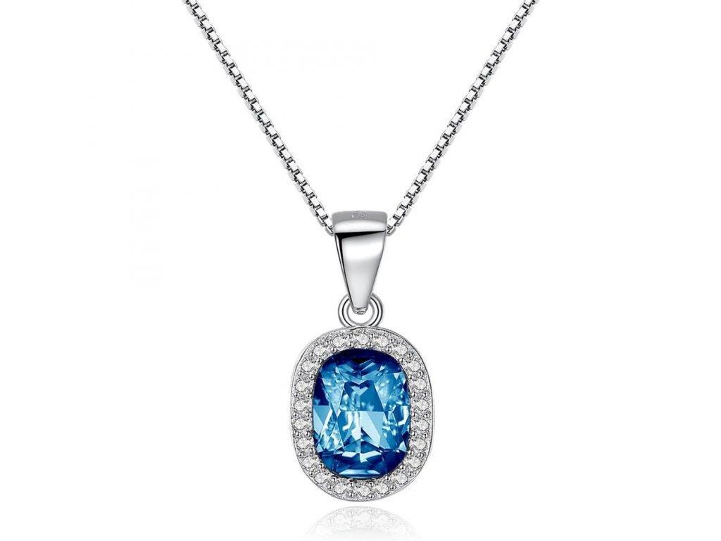 2773 strieborny 925 nahrdelnik s modrym krystalovym priveskom v tvare ovalu
